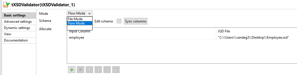 The settings of a tXSDValidator